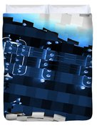 Abstract Guitar In Blue Duvet Cover