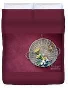 Straw Basket With Flowers Duvet Cover