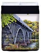 Strawberry Mansion Bridge Fall View Duvet Cover