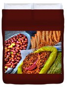 Street Food Snacks In Seoul Duvet Cover