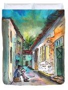 Street Life In Nicosia Duvet Cover