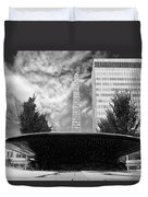Street Photography Downtown Asheville Fountain  Duvet Cover