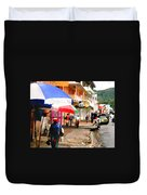 Street Scene In Rosea Dominica Filtered Duvet Cover