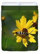 Striped Bee On Wildflower Duvet Cover