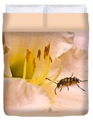 Striped Beetle On Lilly 1 Duvet Cover