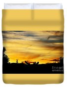 Stripey Sunset Silhouette Duvet Cover