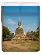 Stupa Chedi Of A Wat In Thailand Duvet Cover