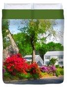 Suburban Azalea Garden Duvet Cover