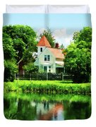 Suburban House With Reflection Duvet Cover