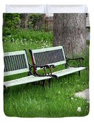 Summer Bench And Dandelions Duvet Cover by Lorraine Devon Wilke