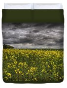 Summer Storm Clouds Over A Canola Field Duvet Cover