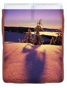 Sun Casting Shadows On Snow Covered Duvet Cover