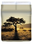 Sun Coming Up Behind A Tree In African Duvet Cover