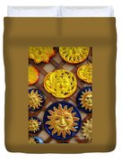 Sun Faces On The Island Of Capri Italy Duvet Cover