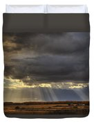 Sun Rays Through Clouds Over Three Old Duvet Cover