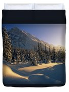 Sun Setting Behind Trees And Mountain Duvet Cover
