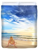 Sunbathing At Sunrise Duvet Cover