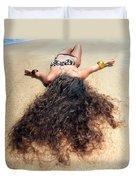 Sunbathing Woman Duvet Cover
