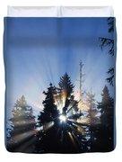 Sunburst Through Silhouetted Pine Trees Duvet Cover