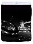 Sundial And Tower Bridge At Night Duvet Cover