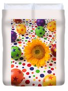 Sunflower And Colorful Balls Duvet Cover