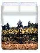 Sunflower Farm Scene Duvet Cover