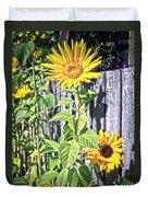 Sunflower Fence Duvet Cover