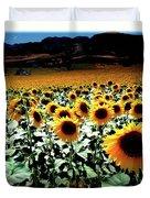 Sunflowers At Dusk Duvet Cover