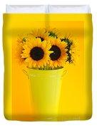Sunflowers In Vase Duvet Cover