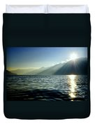 Sunlight Over A Lake With Mountain Duvet Cover