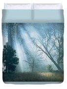 Sunlight Pierces The Morning Mist Duvet Cover
