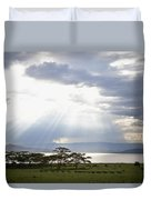 Sunlight Shines Down Through The Clouds Duvet Cover