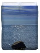 Sunlight Sparkling On The Water At Sturgeon Point Duvet Cover