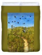 Sunny Graveyard With Birds Duvet Cover