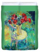 Sunny Impressionistic Rose Flowers Still Life Painting Duvet Cover