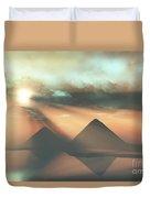 Sunrays Shine Down On Three Pyramids Duvet Cover