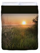 Sunrise On A Dew-covered Cattle Pasture Duvet Cover