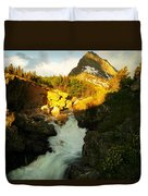 Sunrise On A Waterfall At Glacier  Duvet Cover