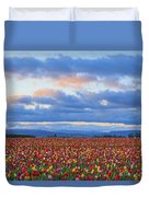 Sunrise Over A Tulip Field At Wooden Duvet Cover