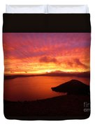 Sunrise Over Crater Lake Duvet Cover