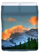 Sunrise Over Crowsnest Pass, Border Duvet Cover