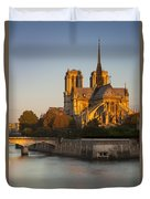 Sunrise Over Notre Dame Duvet Cover