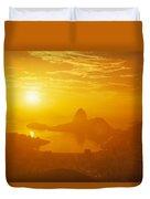 Sunrise Over Rio De Janeiro And Sugar Duvet Cover