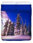 Sunrise Over Snow-covered Pine Trees Duvet Cover