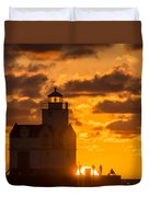 Sunrise Pier Fishermen Duvet Cover