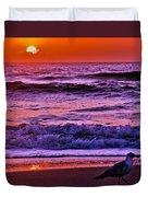 Sunrise Sea And Seagull Duvet Cover