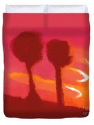 Sunset Abstract Trees Duvet Cover