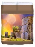 Sunset And Abandoned Oil Tanks Duvet Cover