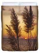 Sunset On The Mediterranean Sea And Plant Duvet Cover