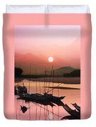 sunset at Mae Khong river Duvet Cover